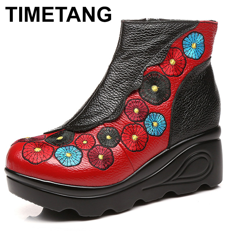 TIMETANG 2017 Autumn Winter Women High Heel Genuine Leather Boots Handmade Vintage Ankle Boots Flower Mother Shoes Zapatos Mujer 2018 high quality handmade thick heel women shoes genuine leather women boots martins winter vintage ankle boots botas mujer