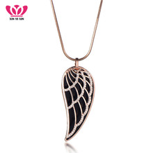 New font b 2018 b font Crystal Luxury Feather Angel wings Long Necklaces Pendants Rose Gold