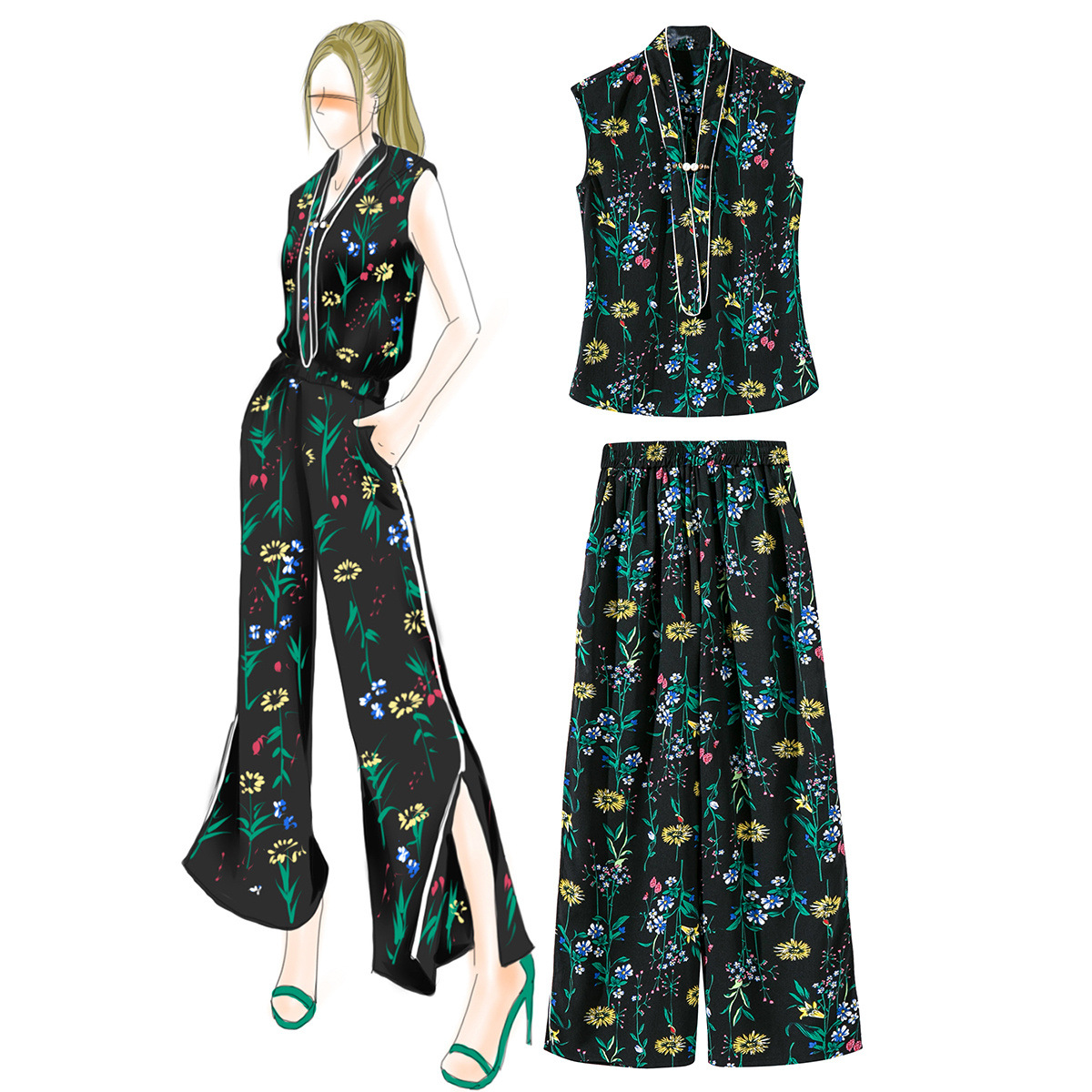 2018 Appliques Rushed Summer New Style Printed Tie Lacing, Bead Tightness, Wide Leg Pants Suit Boutique Women's Clothing 962404