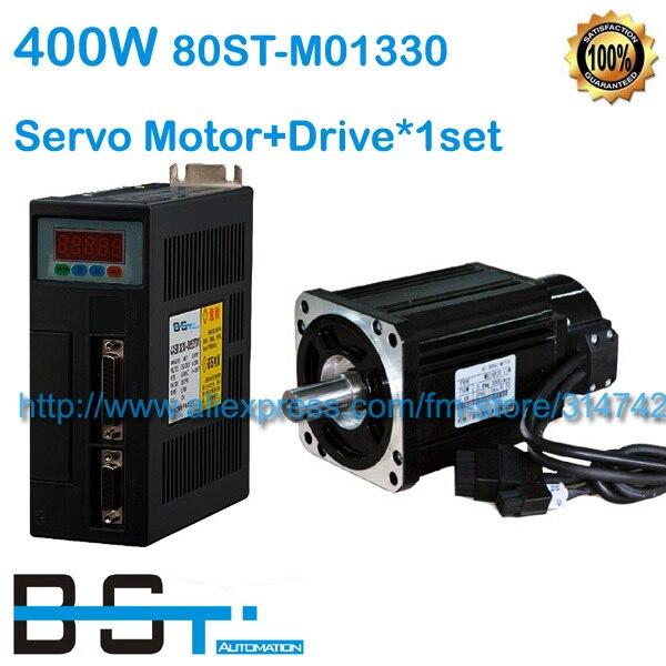 1 27N M 0 4KW 3000RPM 80ST AC Servo Motor 400W 80ST M01330 Matched Servo Drive
