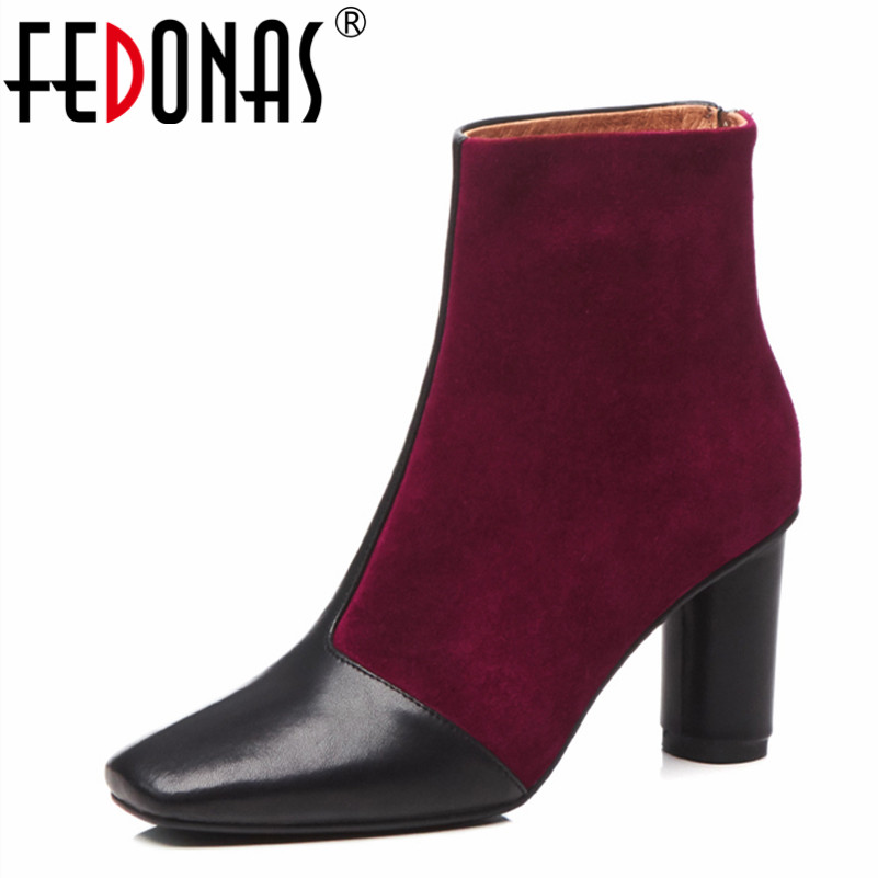 FEDONAS 2019 Women Patchwork Ankle Boots High Heels Warm Martin Shoes Woman Square Toe Autumn Winter Short Motorcycle Boots elegant women low high heels ankle boots pointed toe patchwork autumn winter shoes woman basic motorcycle boots dr b0038