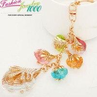 ציצית הארוכה החדש אהבת לב מחזיק מפתחות מתכת keychain האופנה ריינסטון תכשיטים זולים לנשים תכשיטי תליון קסמי טלפון שקית מתנה
