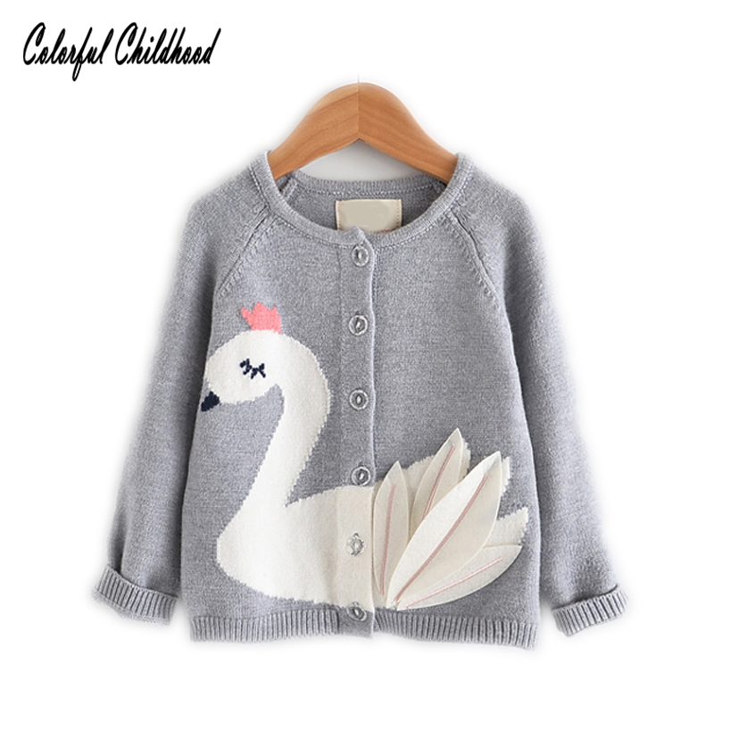 Children Kids Baby Girl Winter Knitted Tops Ruffle Swan Sweater Knitwear Clothes