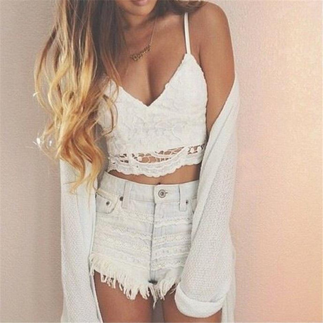 da482d916d Summer 2018 Lace Knitted Tank Tops Sexy Top Cropped For Women Sexy V-neck  Vest Plus size Solid White Vest T-shirt Crop Top