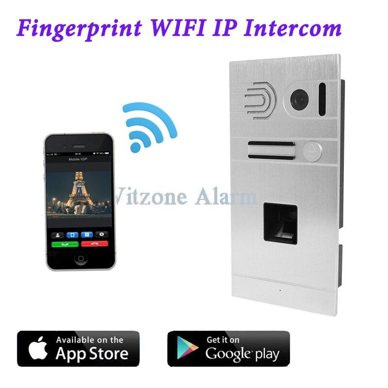 Android/Iphone Remote Control WIFI Video Doorbell Fingerprint IP Intercom Home Door Access Control System biometric fingerprint access controller tcp ip fingerprint door access control reader