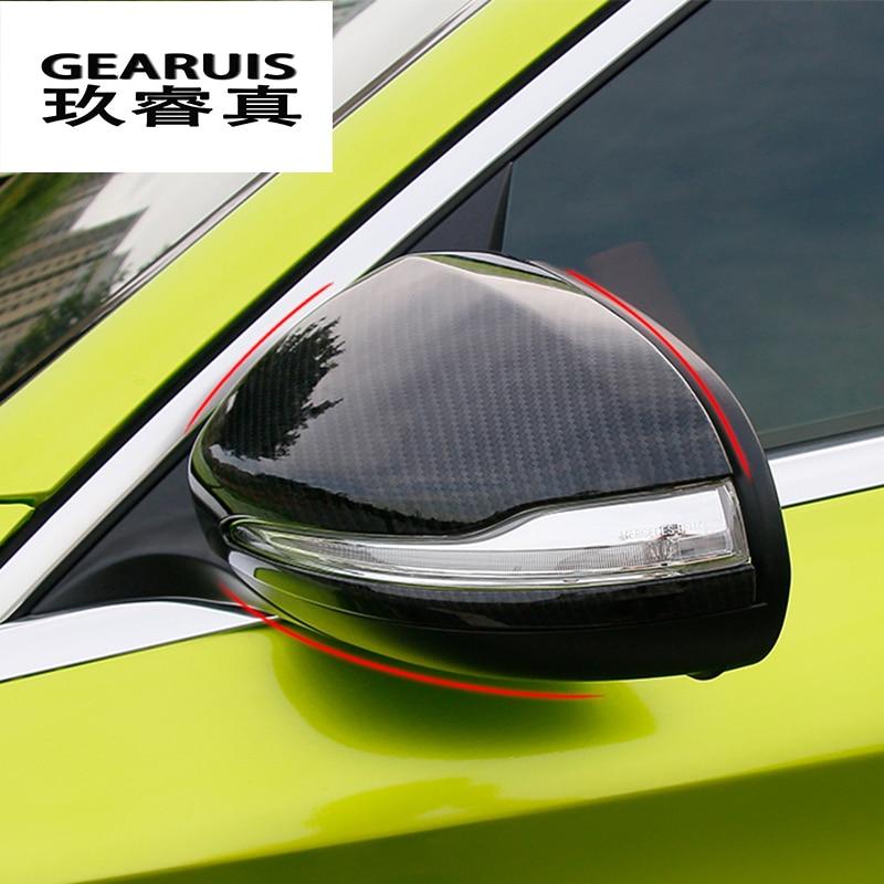 Fibre de carbone rétroviseur décoration coque autocollant couverture voiture-style pour Mercedes Benz CLA C117 GLA X156 A/C classe W205 GLC