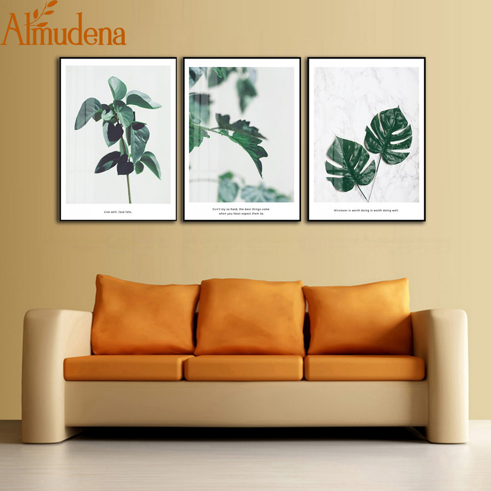 ALMUDENA Nordic Decorative Painting Simple Fresh Green Living Room ...