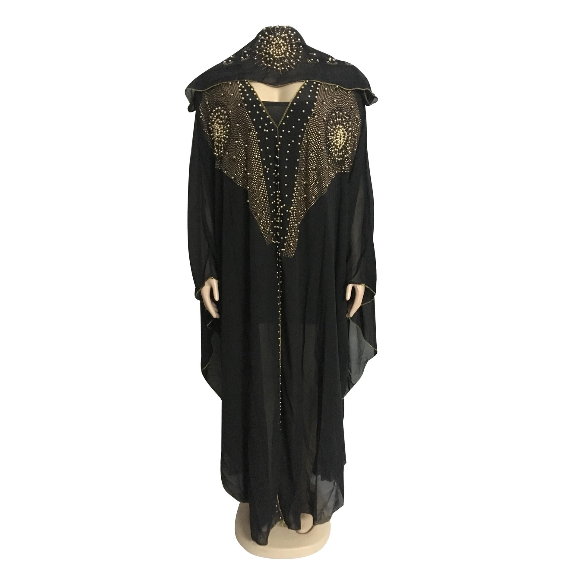 African Dresses For Women Beading Robes Long Maxi Dresses Fashion Plus Size Chiffon Dress Hooded Black Abaya Batwing Vestidos 8