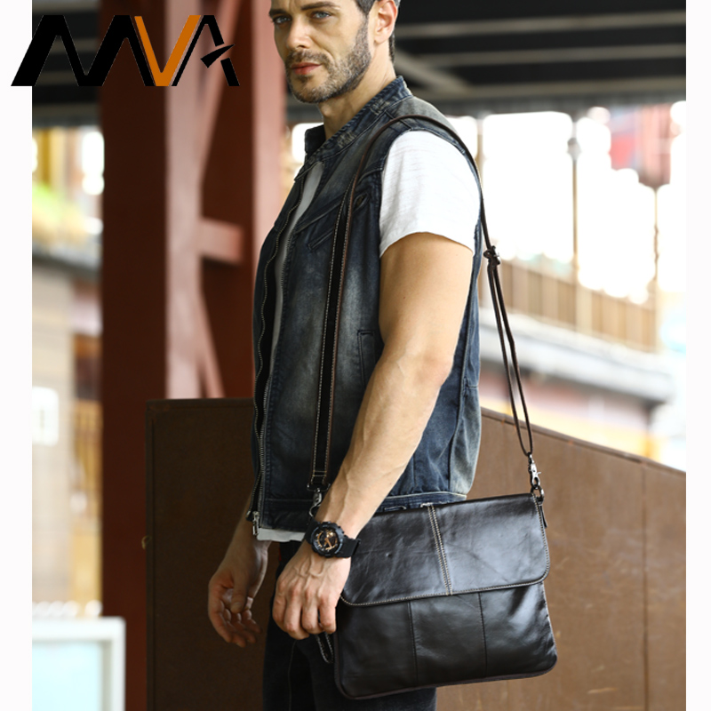 MVA Messenger Bag Men Genuine Leather Men Bag Satchels Solid Zipper Crossbody Bags Casual Men's Shoulder Bags Leather Clutches mva men genuine leather bag messenger bag leather men shoulder crossbody bags casual laptop handbag business briefcase