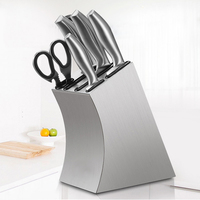 304 Stainless Steel Knife Holder Multifunction Storage Knife Block Metal Kitchen Knife Stand Rack Dining Cooking Accessories