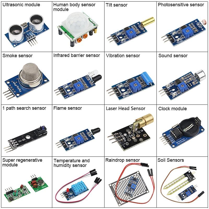 7 42 16 En 1 Juego De Sensor Para Arduino Raspberry Pi Kit De Módulo De Sensor 16 Tipos De Sensores Diy Iot Starter Kit De Inclinación Proyecto De
