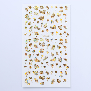 Image 5 - 1 Sheet  Gold 3D Nail Sticker Coconut Tree Leaf Holo Flower Laser Adhesive Decal Sticker  Nail Art Decal