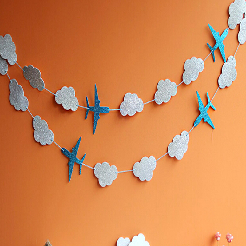 Clouds and Airplanes Garland Party Decoration Blue Baby Showers Kids Birthday Event Supplies Happy Hanging Background Banners image