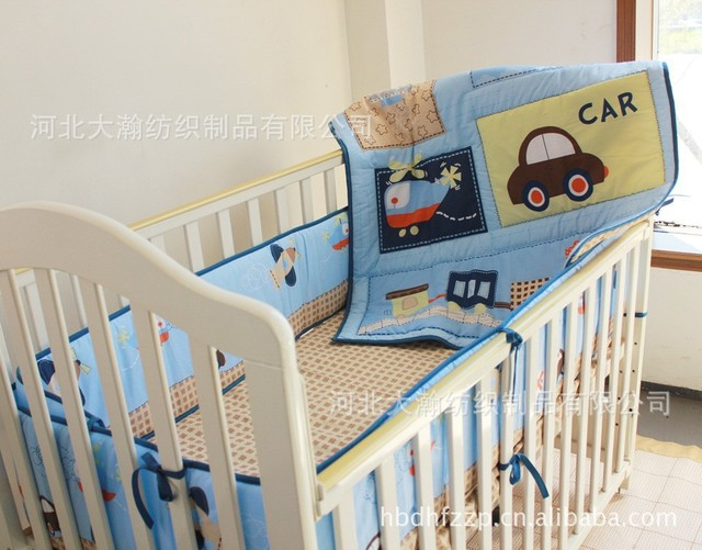 100 Cotton Embroidered Car Train Airplane Combination Sching Baby Boy Crib Bedding Set Include