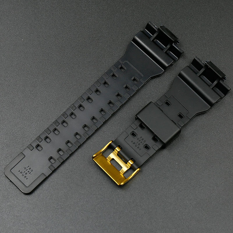 Resin Black Gold Strap For Casio G Shock Ga 100 Ga 110ga 120 Ga 200 Ga 300 Ga 400 Gd 100 Gd110 Gd 120 Gls 100 Glossy Black Strap