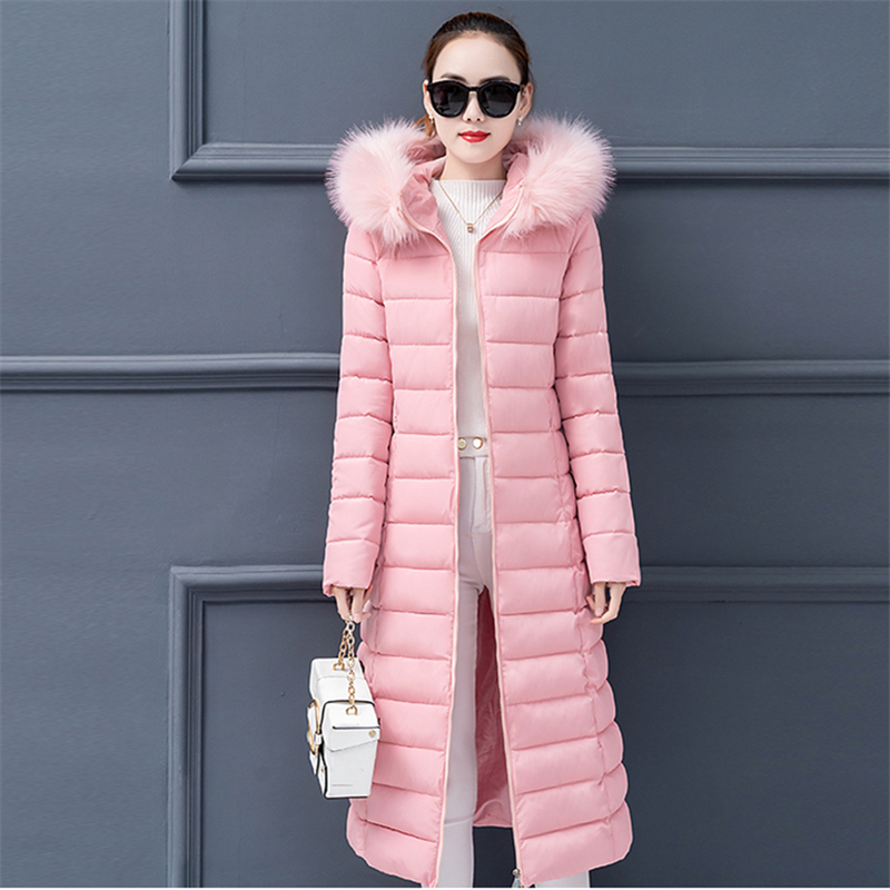 Women Cotton Jacket Long Hooded Fur Collar   Parka   2019 Fashion Winter Plus size Solid Female   Parkas   Thick Warm Padded Outerwear