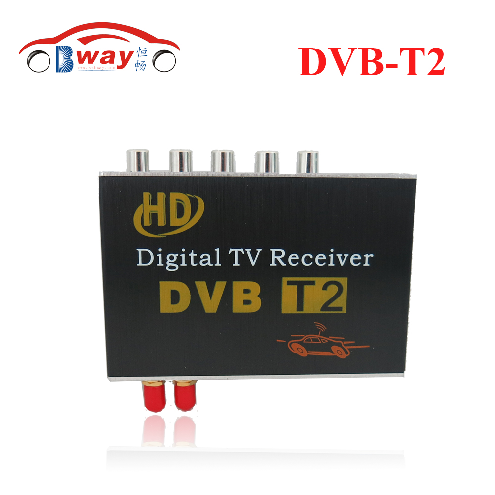 free shipping 2 antenna Car DVB-T2 TV box supporting high-speed up to 130KM/H, with two tuners for Russian,Europe,Southeast Asia dvb t rf coaxial to mcx tv antenna connector black 22cm cable