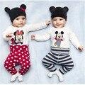 Niños de la Historieta de Minnie Cltohes Conjuntos Lindos Mamelucos de Manga Larga Blanca + Pantalones Ocasionales del Algodón Y Gorras 3 UNIDS Bebé Niños otoño de la Historieta Conjuntos