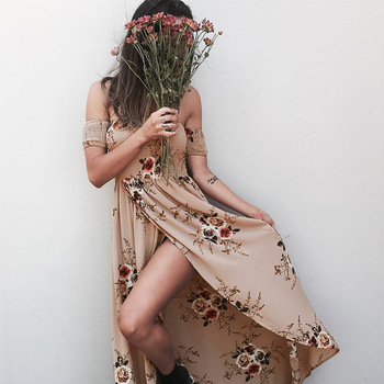 ELSVIOS 2018 New Boho Style Off Shoulder Women Long Dress Beach Floral Print Summer Dress Chiffon Slash Neck Maxi Dress XS-5XL 4