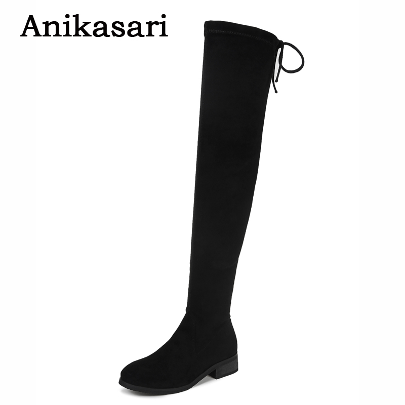 Thigh High Boots Women Sexy Stretch Slim Over The Knee Suede High Boots Autumn Shoes Woman Black Botas Feminina Size 34~40 2017 winter cow suede slim boots sexy over the knee high women snow boots women s fashion winter thigh high boots shoes woman