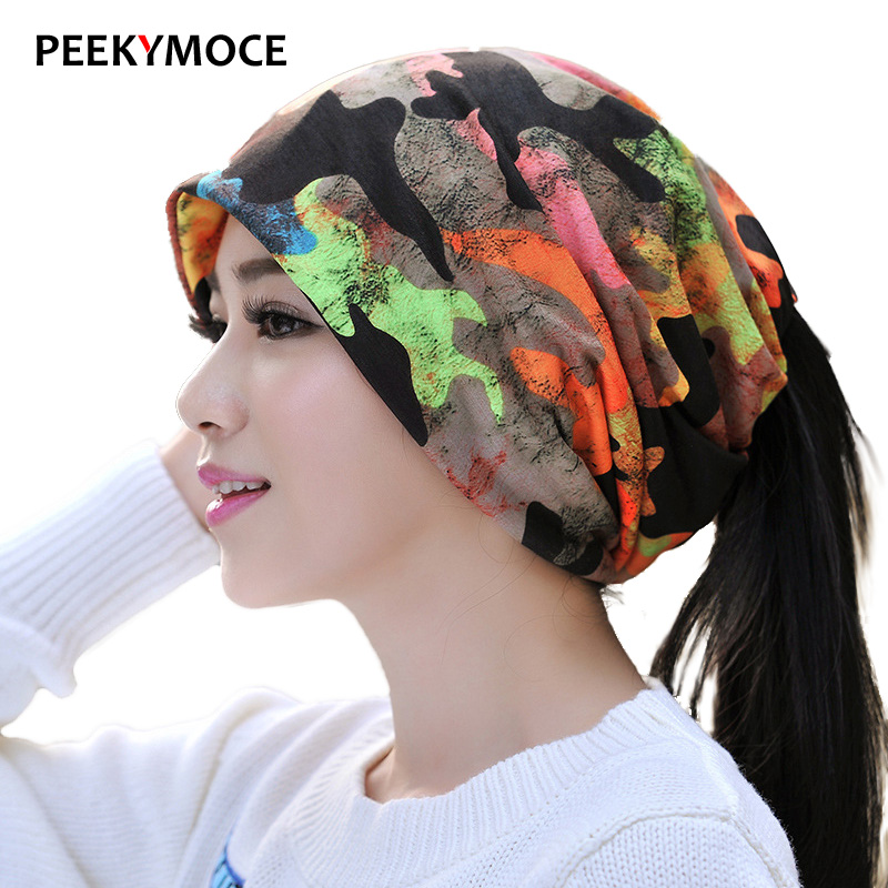 Brand Skullies Beanies Knitting Cap Bonnet Double Layer Thin Cotton Hat  Baotou Cap men and women camouflage outdoor cycling hat skullies