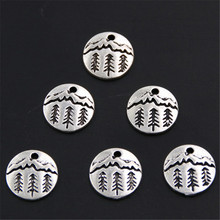 20pcs Pine Tree Charm Under The Mountain Charms Pendant Camping Jewelry Outdoor Gifts