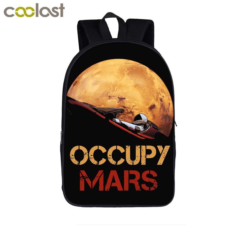 Occupy Mars SpaceX Starman Backpacks Elon Musk Teenager Boy Girls School Bags Women Men Laptop Backpack Kids Student Book Bag недорого