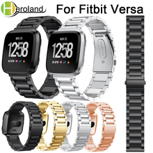 For Fitbit Versa Wrist Band Replacement Stainless Steel bracelet band metal Smart Watch Band Strap luxury for Fitbit Versa Lite accessories stainless steel bracelet replacement watchbands for fitbit versa smart band metal strap wrist band with diamond new