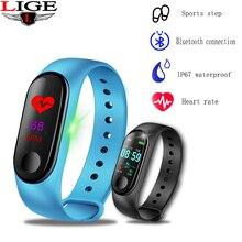 LIGE New Smart Wristband Smart Bracelet Fitness Pedometer Sport Waterproof Watch Men Women Heart Rate Blood Pressure Monitor