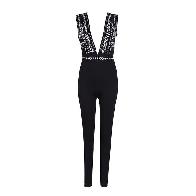 New Women Jumpsuits Playsuits Sleeveless Summer Bodycon Clubwear Jumpsuit Sexy Deep V Neck Beading Party Bodysuits