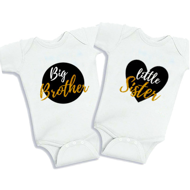 4d65ea238 Culbutomind Big Brother Little Sister Baby Bodysuits Twins NewbornBaby  Clothing Summer Cotton Short Sleeve Twin Boy Girl Clothes