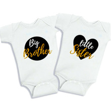 Culbutomind Big Brother Little Sister Baby Bodysuits Twins NewbornBaby Clothing Summer Cotton Short Sleeve Twin Boy Girl Clothes