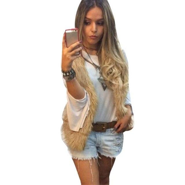 Мода Женщин Жилет Пальто Верхняя Одежда Без Рукавов Длинные Волосы Куртка Жилет теплый Кожа трава жилет жилет продажа