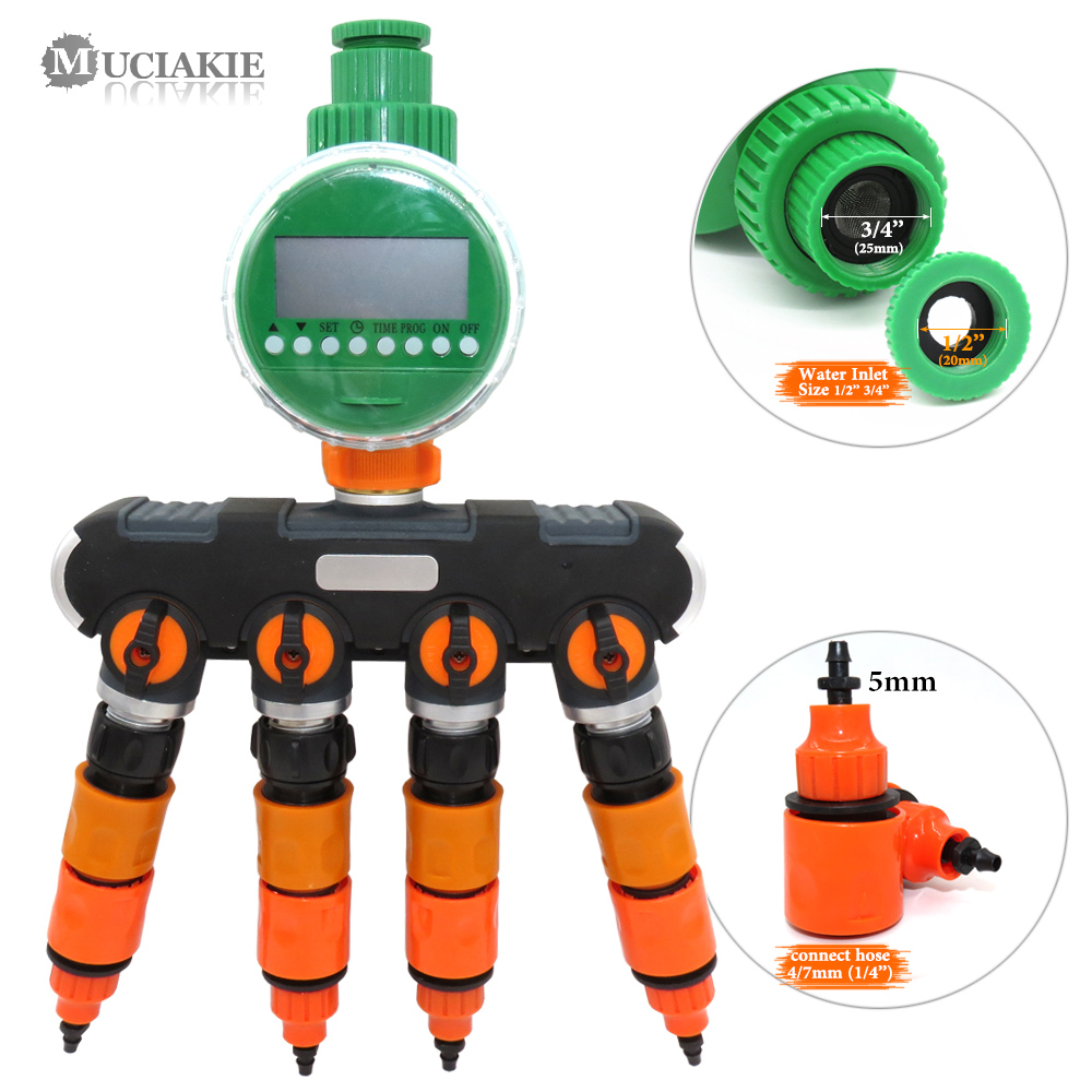 MUCIAKIE 1 PC Garten Wasser Splitter abschaltung Stecker mit Wasser Timer Bewässerung Controller Verbindung 8/11mm 4/7mm 1/2 ''Schlauch