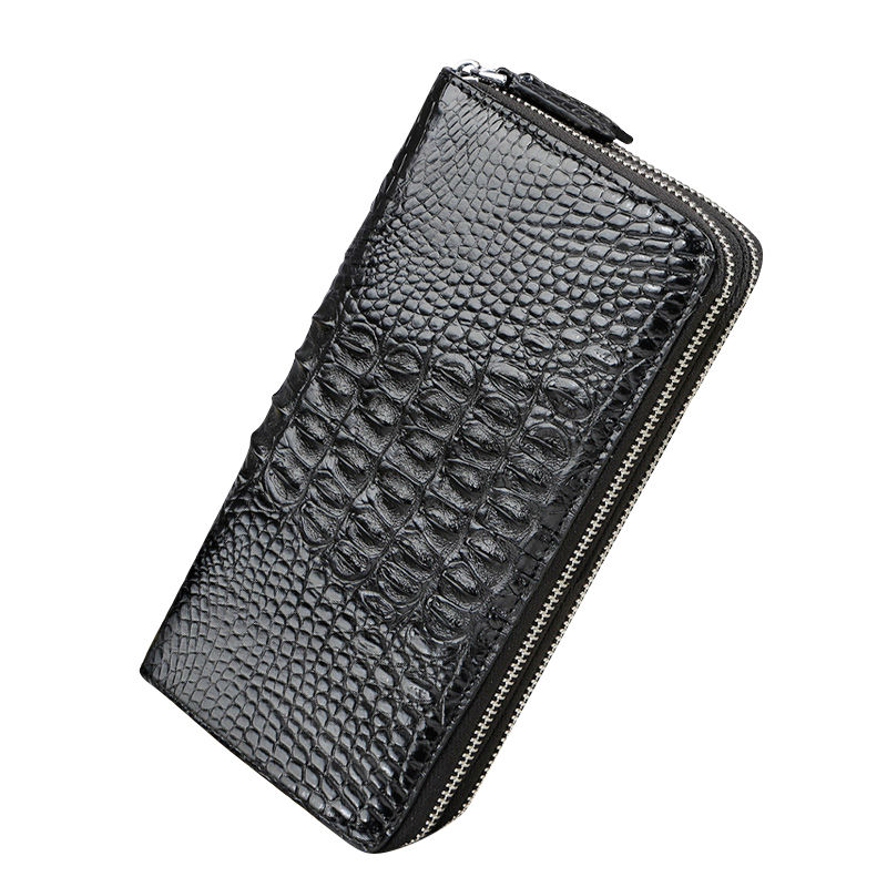 2017 new luxury leather crocodile leather men wallet large capacity double zipper wallet high quality black brown leather wallet zuoyi crocodile leather original zipper snap multifunctional in large capacity and long wallet