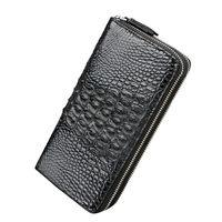 2018 новый роскошный кожа крокодила Мужчины бумажник большой емкости двойной молнии бумажник Высокое качество Черный Коричневый кожаный бум