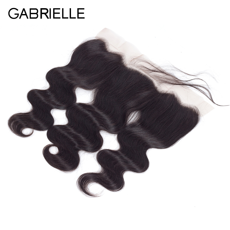 Gabrielle Ear Human-Hair Lace-Frontal Indian Body-Wave Natural-Color 13x4 Non-Remy Free/middle/three-part