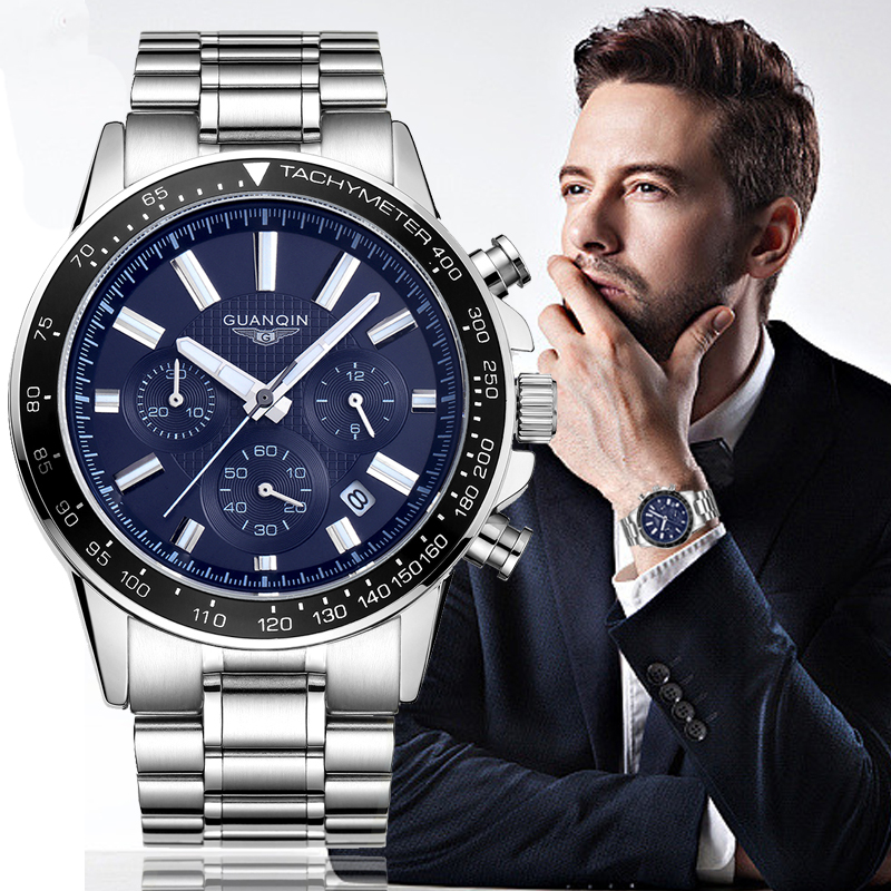 Top Brand Mens Watches Luxury GUANQIN Quartz Watch Men Fashion Clock Full Steel Waterproof Wristwatch Male brand watches Blue 2016 new fashion watches men luxury top brand guanqin big dial full black sport quartz watch male wristwatch with stopwatch
