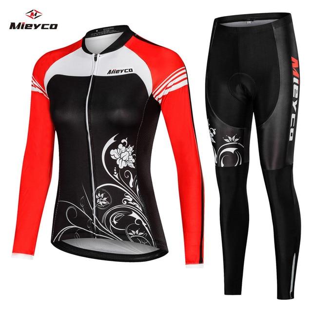 Uniforme da bicicleta roupas maillot ropa ciclismo para mulher ciclista mieyco manga longa camisa de ciclismo conjunto feminino
