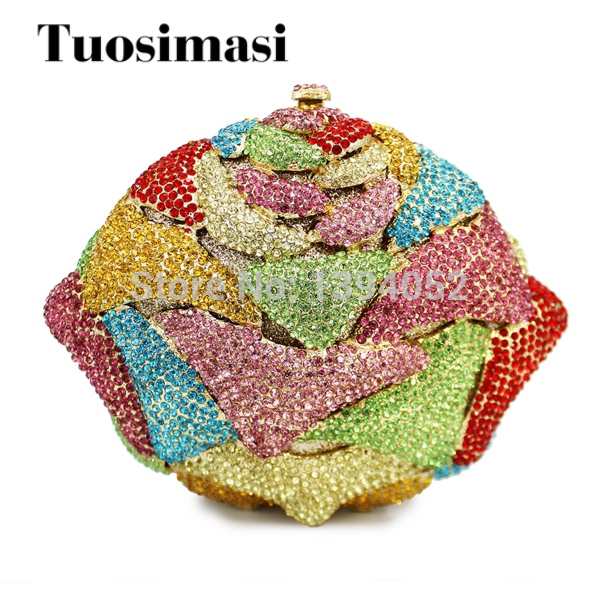 colorful floral shape clutch evening bag rhinestone evening clutch bags ladies purse (8764A-C2) floral shape rhinestone earrings