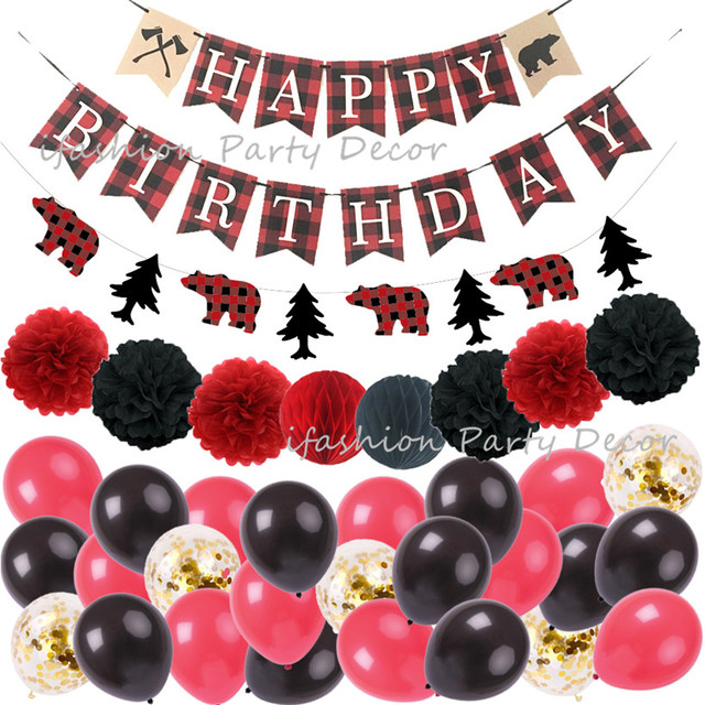 Lumberjack Happy Birthday Party Decorations Birthday Banners