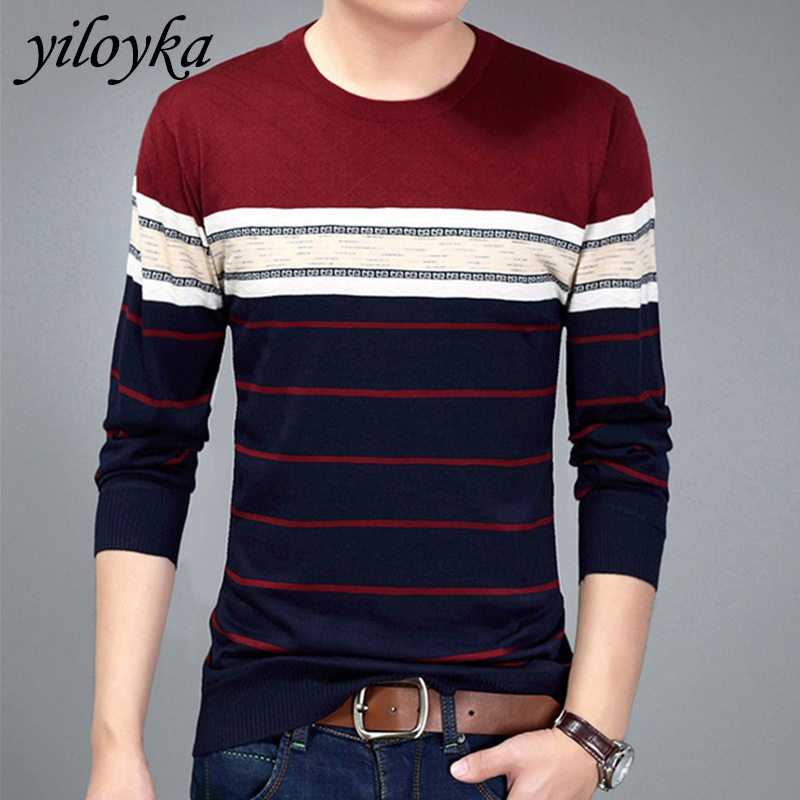 New Fashion Warm Sweater Men O-Neck Pullover Striped Fit Jumpers Knitted Men's Sweater Autumn Casual Pull Homme Shirt Sweaters