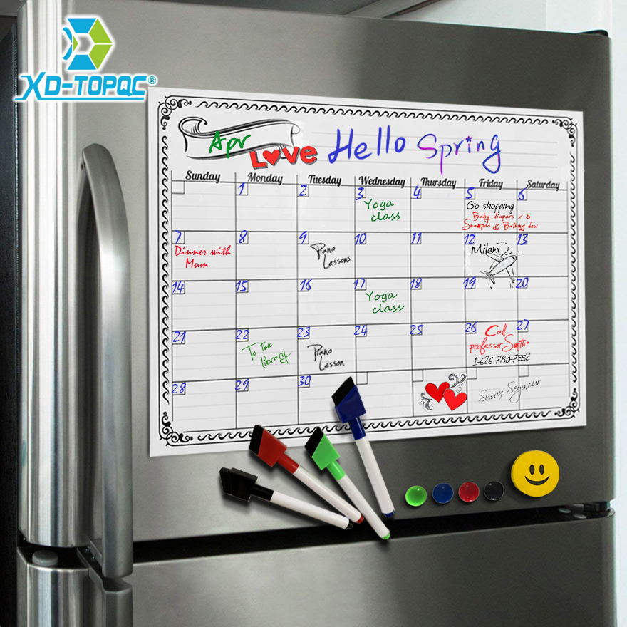 A3 Monthly Daily Planner Whiteboard Fridge Magnet 29.7*42cm Magnetic Flexible Bulletin Drawing Refrigerator White Message Board  Islamabad