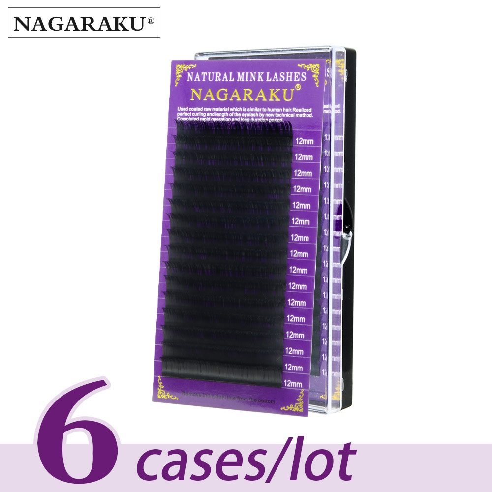 NAGARAKU All Size 6 Cases J B C D Curl Individual Eyelashes Faux Mink Eyelashes Extension Artificial Fake False Eyelashes