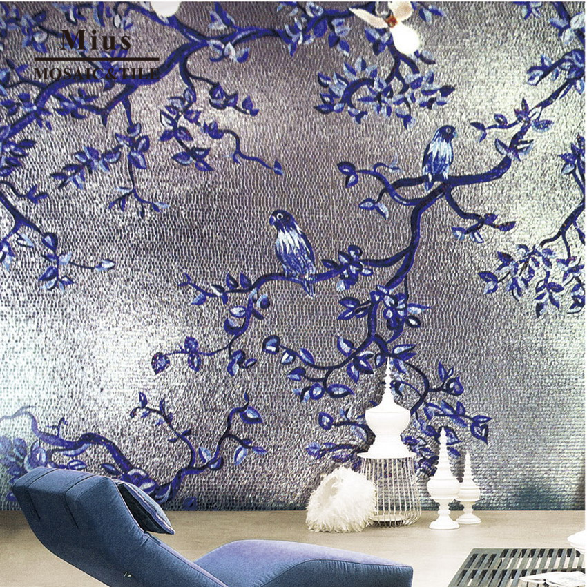 Silver Background Blue Bird Glass Art Mosaic Tile Pattern-in Wallpapers Home Improvement