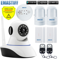 Wireless Andorid IOS App Control 720P IP Camera WiFi Alarm System Home Door Gap Burglar Smoke