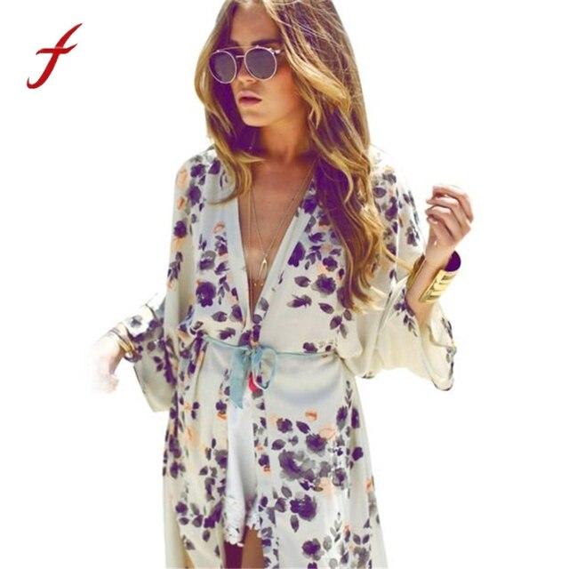 Femmes D'été Blouse 2017 Mode Floral Imprimé Manches Demi Casual Plage Boho Kimono Cardigan Long Blusas En Mousseline de Soie Tops Cover Up