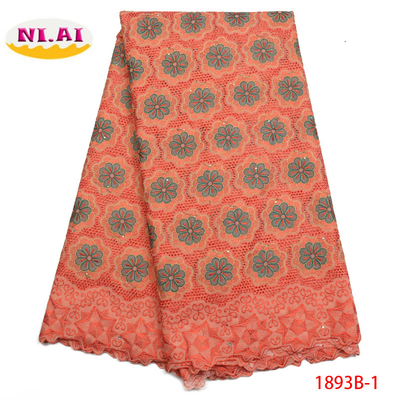 Nigerian Lace fabrics 2018 Peach African Swiss Voile Lace High Quality Swiss Voile Lace in Switzerland For Cloth Dress XY1893B 1-in Lace from Home & Garden    1