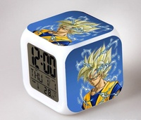 Japan Anime DRAGON BALL Z Son Goku 7 Color Change Glowing Alarm Clock