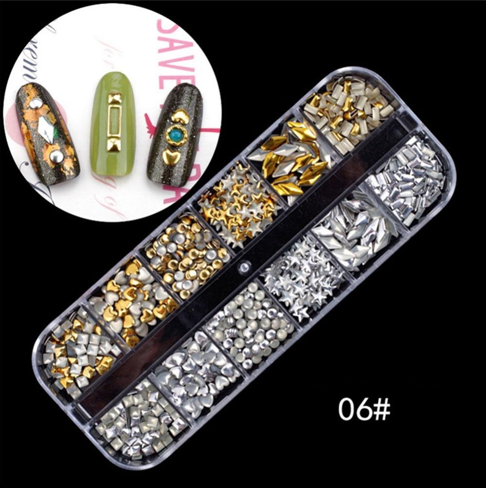 1Box Nail Art Rhinestones Glitter 3D Nail Charms Dried Flowers Nail ...